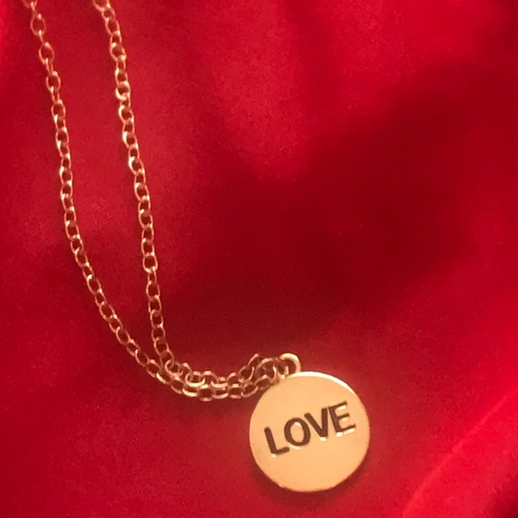 Forever 21 Jewelry - ✨2/$10✨ Love Gold Tone Pendant Necklace 🌹 (NWOT)